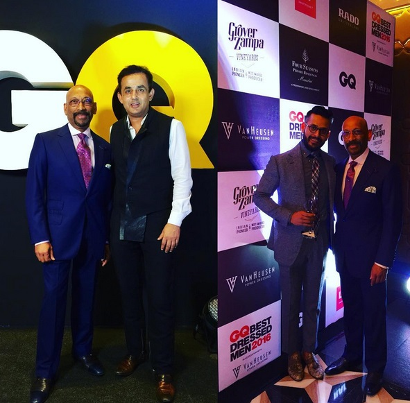 Andrew Ramroop as a VIP guest at GQ's Best Dressed Man Awards during his visit to Mumbai, India summer 2016, with Kolkata designer Ratul Sood.