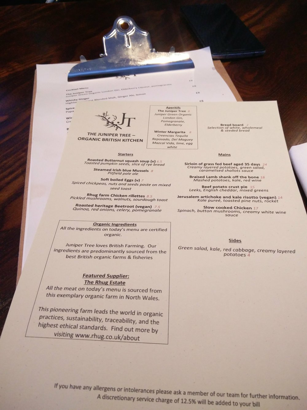 Juniper Tree London Belsize Village Food Menu