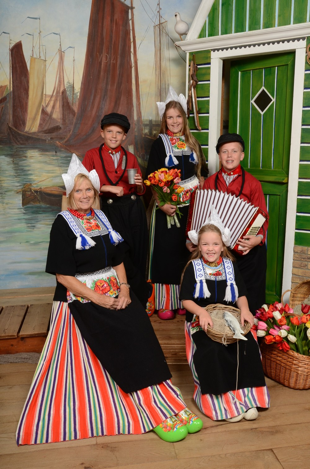 Mom and kids in Volendam costume