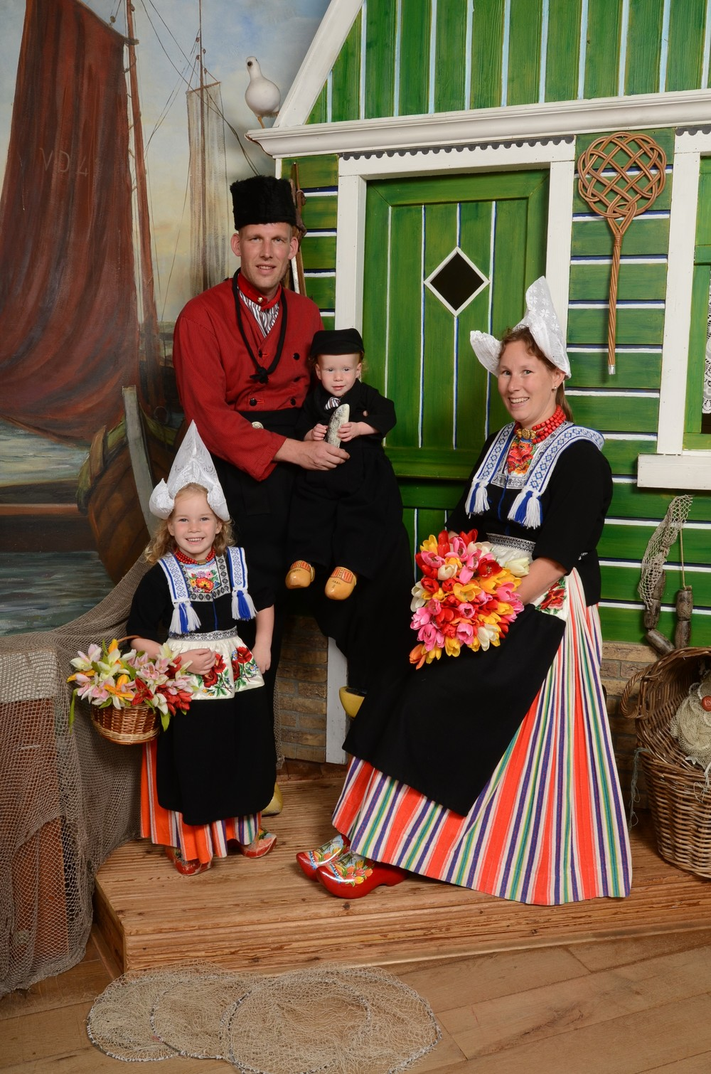 Family in Volendam costume