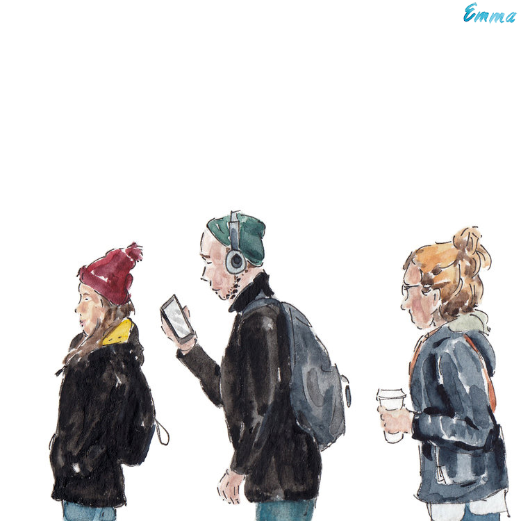 Illustration of people waiting in line in Villeray, Montreal