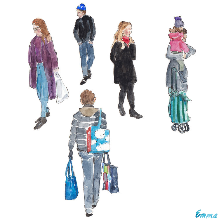 Shoppers in Marche Jean Talon