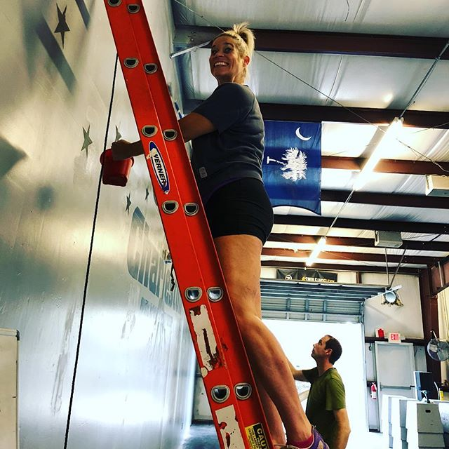 Shout out to Coach Tina for helping with paint touchups at the box today! . . #crossfitcharleston #sunday #painting #sprucingupthespace