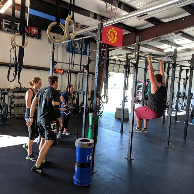 Getting after it on a Saturday! Great 30-minute partner WOD with burpee box jump overs, sumo deadlift high pulls, toes to bar, rope climbs and running. #Whew . . #saturdaywod #crossfit #crossfitcharleston #weekendwod #chsfit