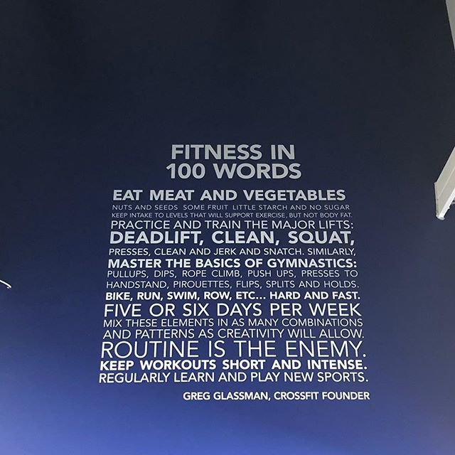 Loving our new wall sign! Fitness in 100 words by #CrossFit founder Greg Glassman - a great addition to our space! Come see it! . . #crossfitcharleston #sprucingupthespace #fitnessin100words