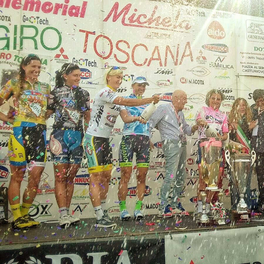Amber on the podium in the Most Combative Jersey at the Giro Toscana. Photo by Heribert Springnagel