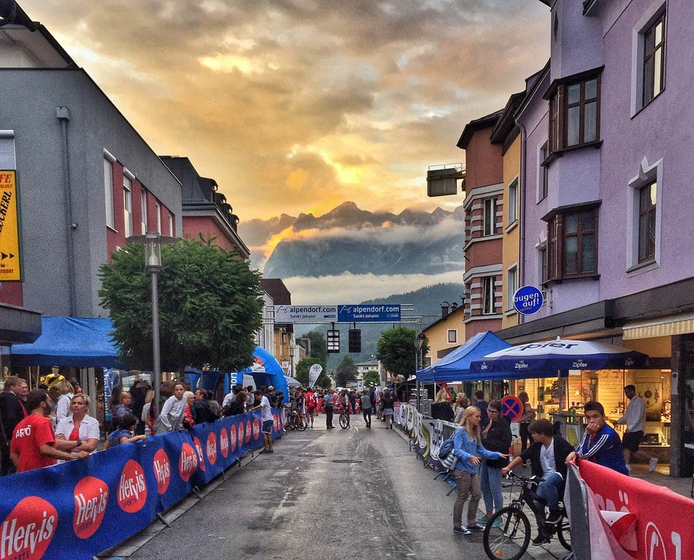 Sunset over the mountains after the Bischofshofen Kriterium International in Austria. Photo by Amber Pierce.