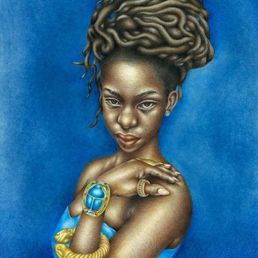 Josh Sessoms Art: Bastet (Kemet/Egypt). Paintings and Prints. Scarab, Khepera, Jewelry. Natural Hair.