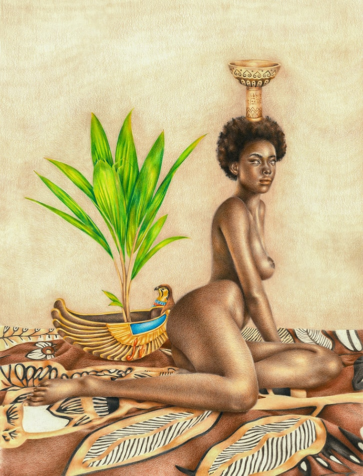 Nebethet (Kemet/Egypt): African Art and Painting by Josh Sessoms Art. Vase of Heru (Horus). Philadelphia, Raleigh/Durham and New York.