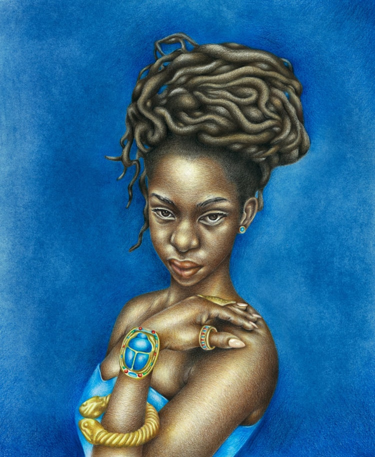 Josh Sessoms Art: Bastet (Kemet/Egypt). Paintings and Prints. Scarab, Khepera, Jewelry. Natural Hair.