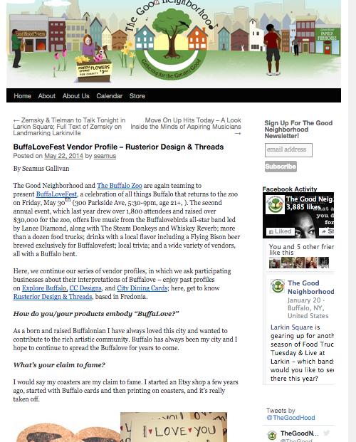 The good neighborhood blog interview and vendor write up