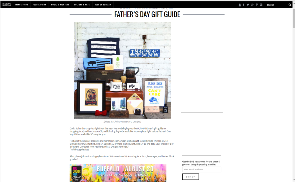 Fathers Day Gift guide on Step out Buffalo with Shop Craft.