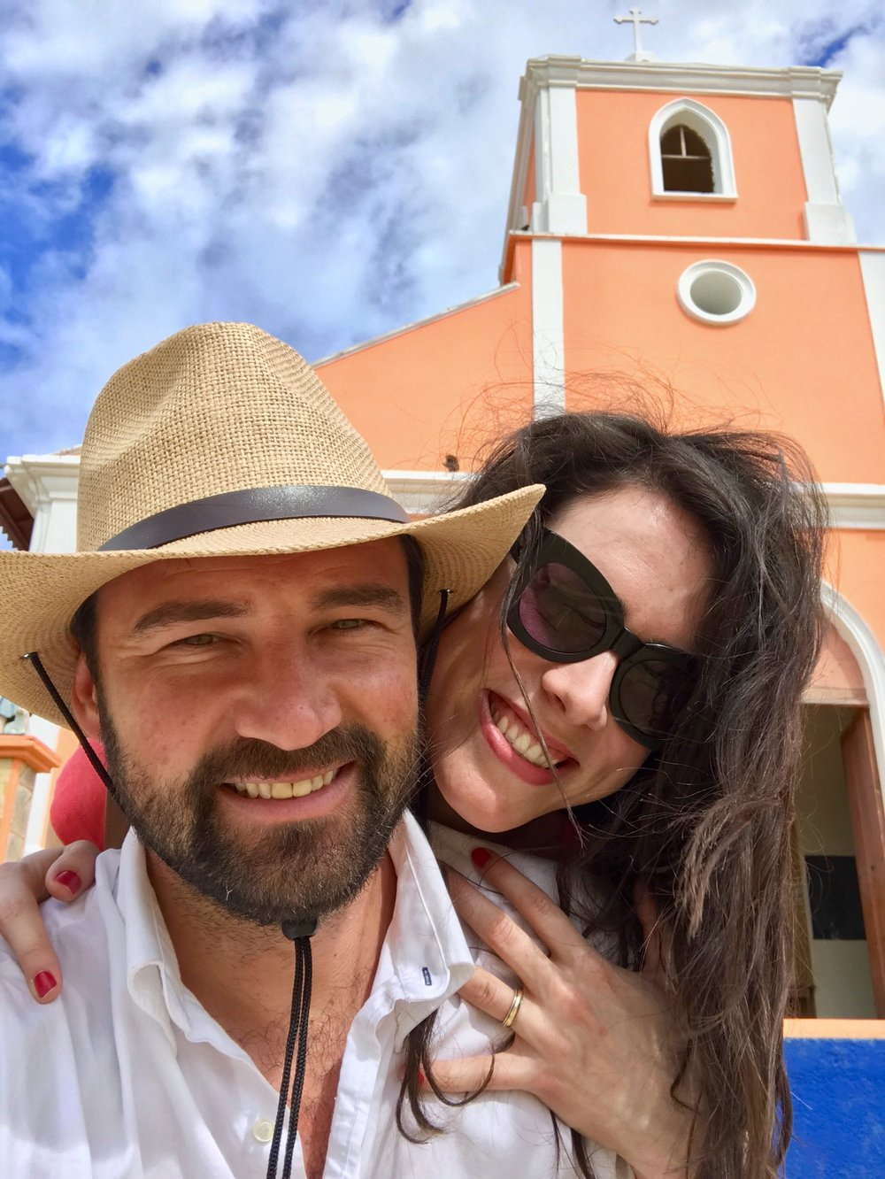 Kristian and me in front of a beautiful little church in San Juan del Sur, Nicaragua.