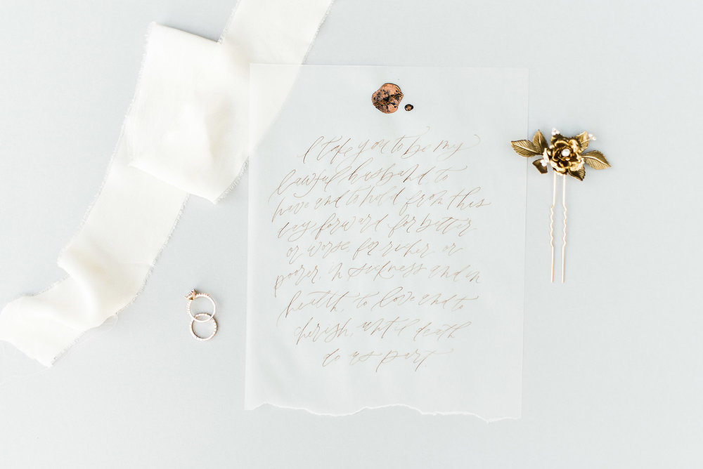 Calligraphy:  Sarah Ann Design ; Photo:  Gray Door Photography .