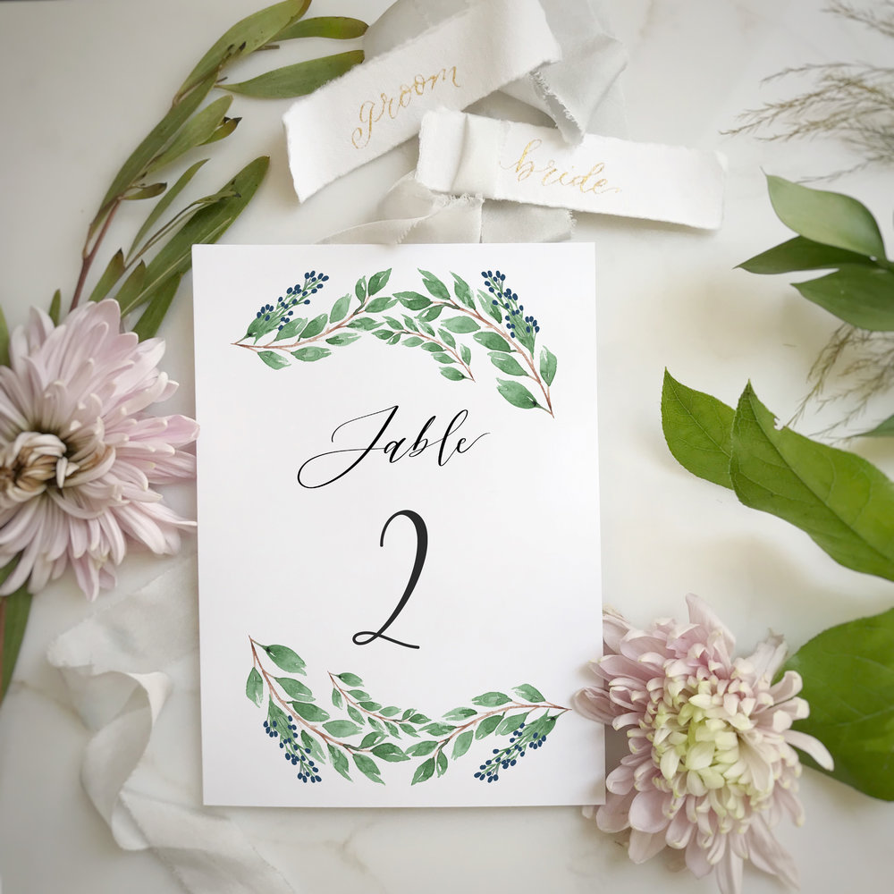 Vines and Blue Berries Table Card Stock Photo.JPG