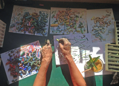 sorting pastels