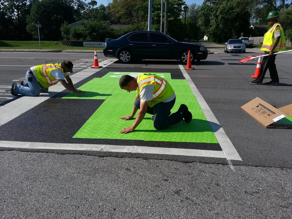 New bike boxes at 71st and Cross Key