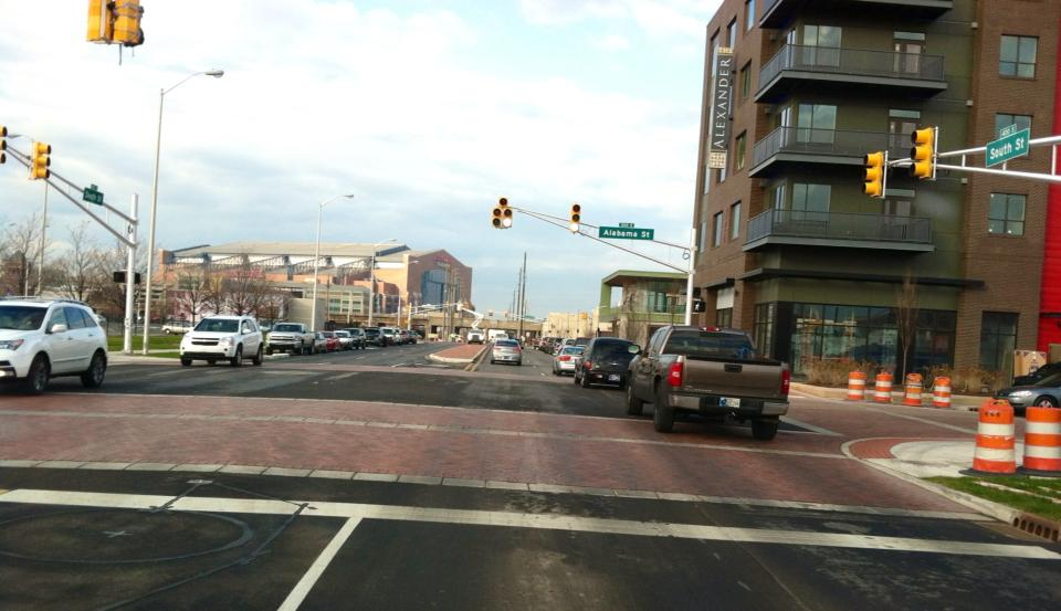 Raised intersections on South St. to increase pedestrian safety and calm traffic
