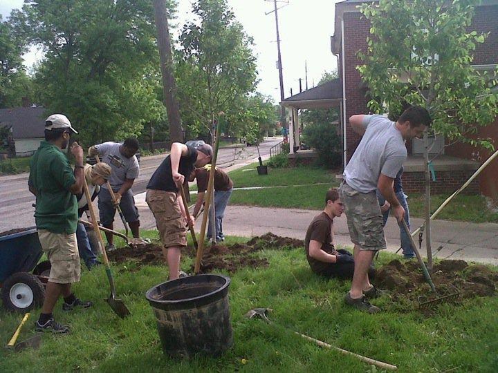 RebuildIndy staff planting trees