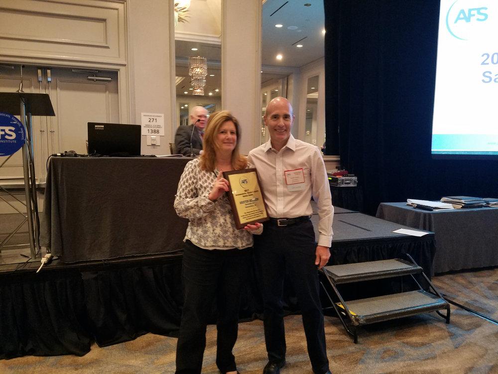 Kristen Belcredi receiving the AFS Service Award