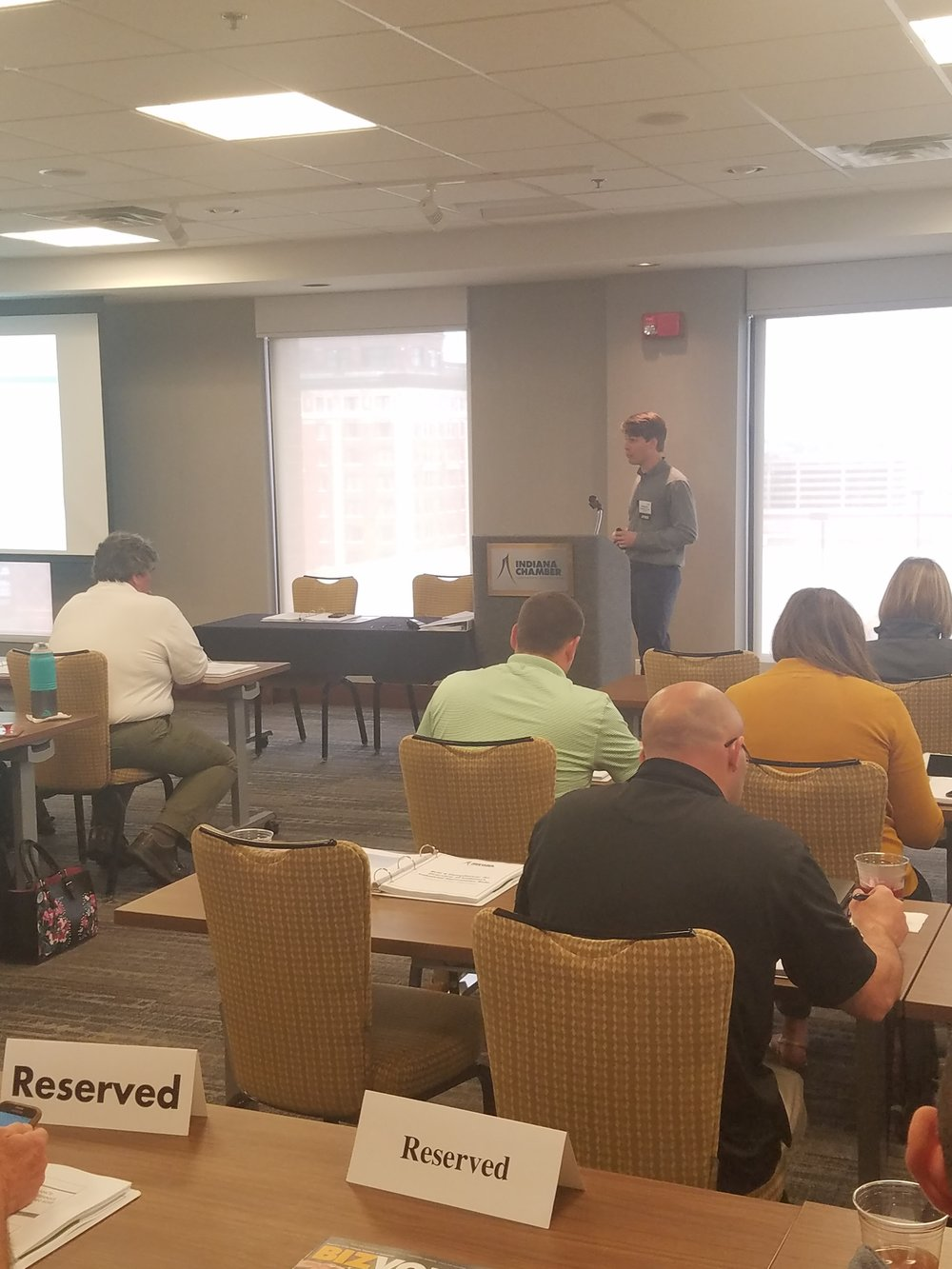 "Nathaniel Cullen, Staff Scientist, presenting on ""Rule 6 Compliance - Indiana's Industrial Stormwater Rule"""