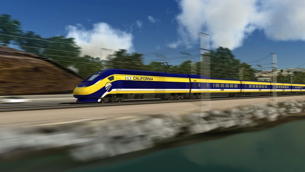 Computer-generated image of the proposed high-speed trains for use in California.  ( Photo courtesy California High-Speed Rail Authority )