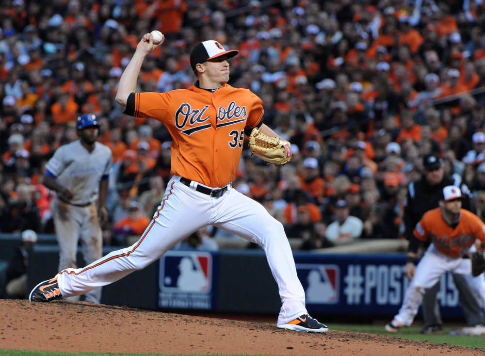 Brad Brach has proven himself to be a valuable asset out of the bullpen this season.  The Orioles would be wise to cash in while his value is trending up.  Image courtesy of the Baltimore Sun.