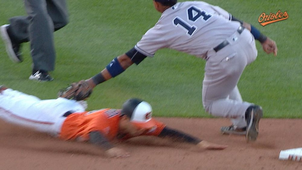 Joey Rickard is tagged out trying to steal second base in a game against the New York Yankees.