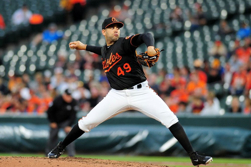 Orioles relief pitcher Gabriel Ynoa threw 6 scoreless innings in a game against the White Sox over the weekend.  Ynoa and the other Norfolk Shuttle pitchers have helped the Orioles during their 6-game win streak.  Image Courtesy Camden Chat.