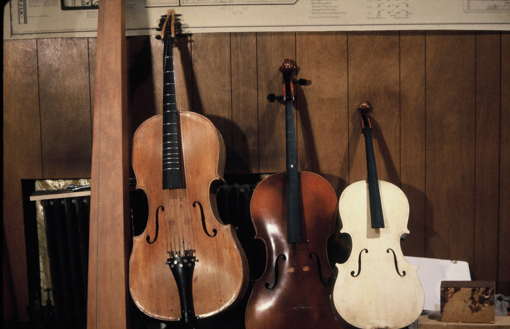 Tomba Marina, Cellos with Metal Frets in development, Brooklyn Docks Studio, 1982