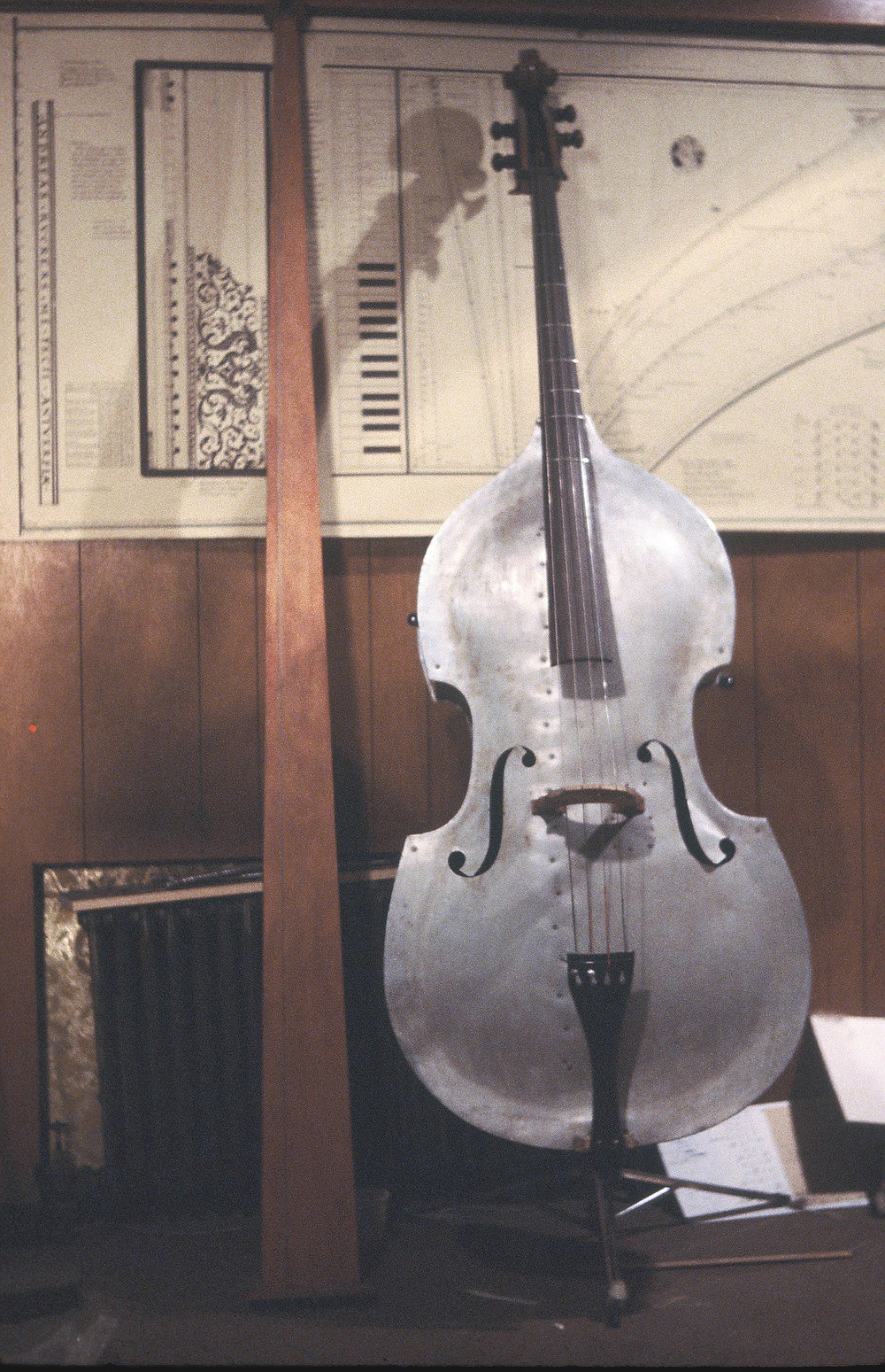 Tromba Marina, Aluminum Bass with metal frets, Brooklyn Docks Studio, 1983
