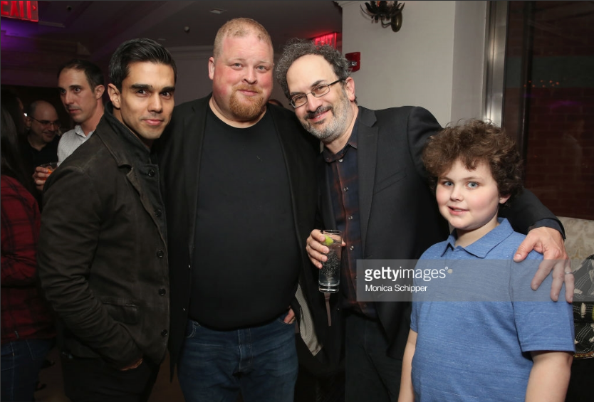 Jorge Luna,  Joel Marsh Garland , and  Robert Smigel  and son at the after party for the premiere of   The Week Of  in NYC for Netflix