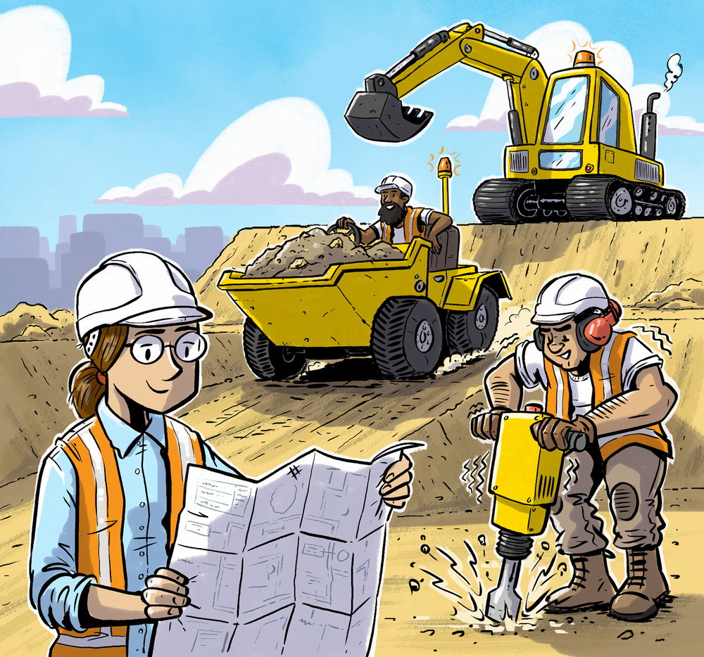 Digger, Dumptruck, Drill