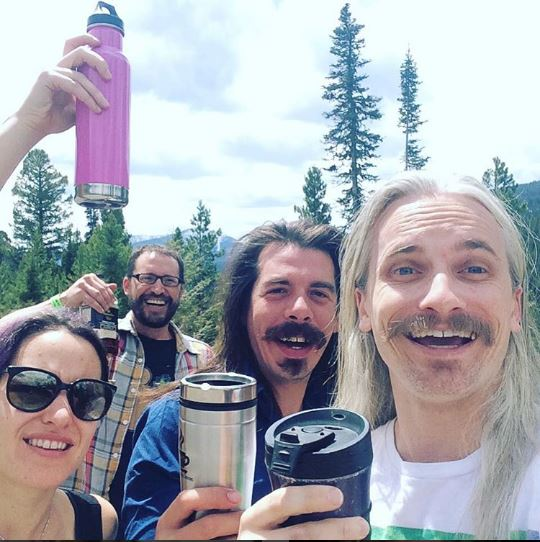 Megafauna great rock band from Austin taking a #WaterBottleSelfie while on tour