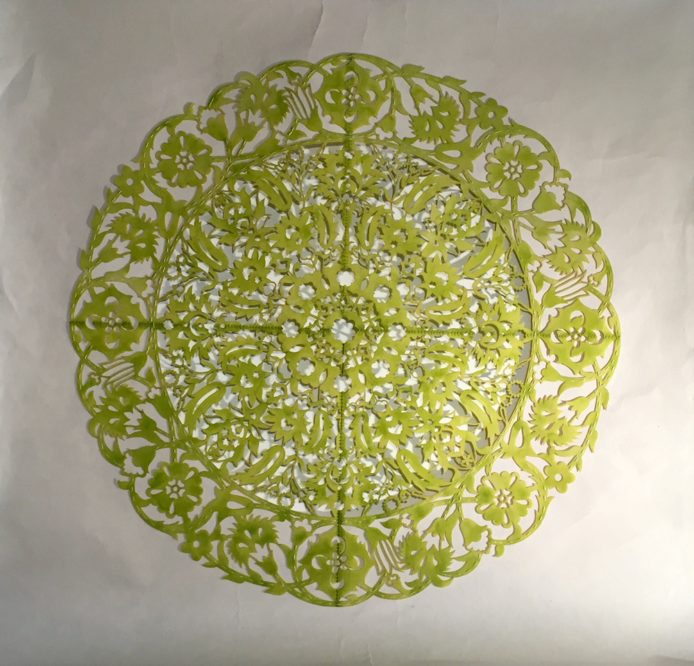 """All the Flowers Are For Me: Chartreuse   Cut paper, encaustic medium, embroidery 30"""" x 30""""  2015"""