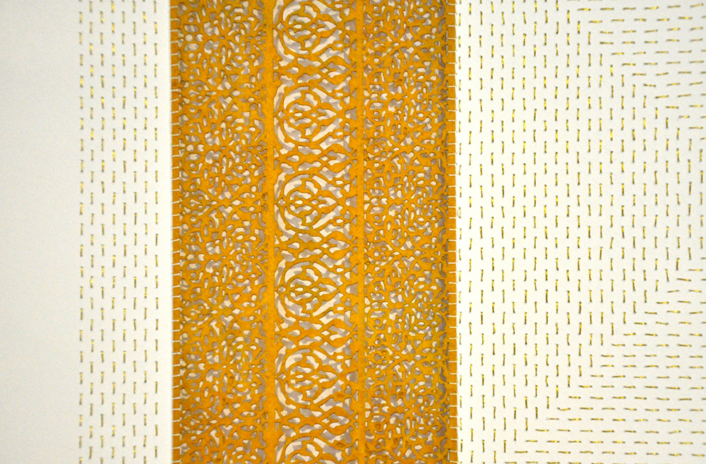 """All the Flowers Are For Me: Mustard (Detail)   Cut paper, encaustic medium, embroidery 30"""" x 30""""  2015"""