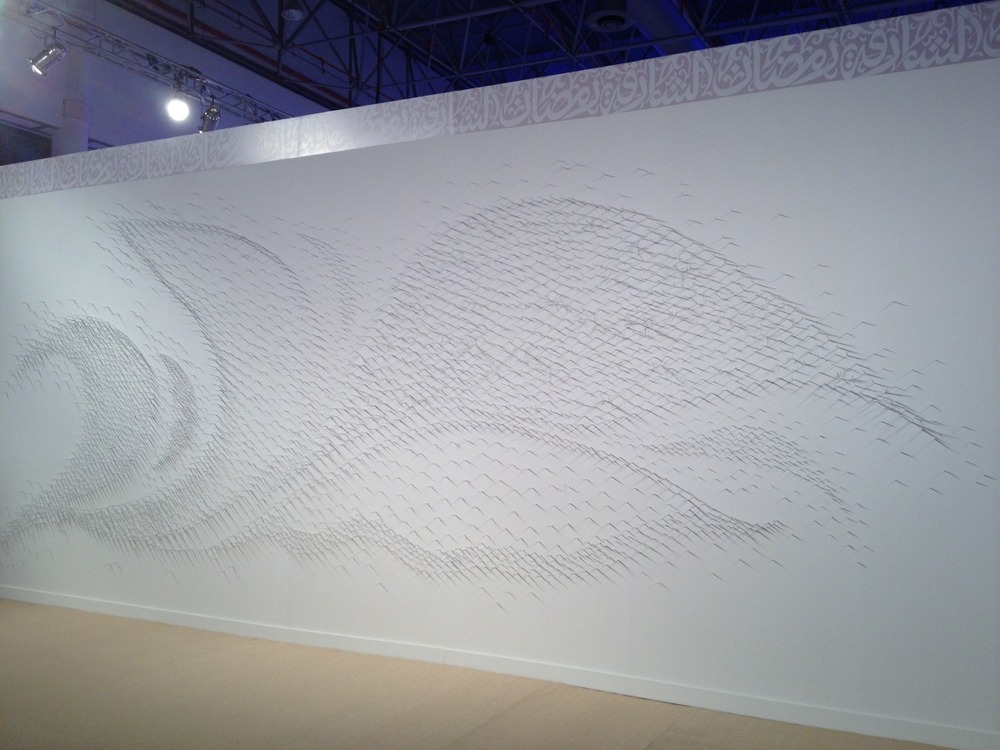 Murmuration II   Lure of the Eye Exhibition @ Sharjah Art Expo: Sharjah, U.A.E 2014  Honey Locust Thorns, T-Pins, White Paint  30' x 12' 2014
