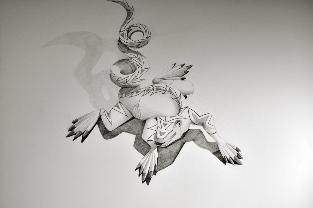 "Spirit Animal- Lizard   Graphite on Paper   22"" x 30"" 2012"