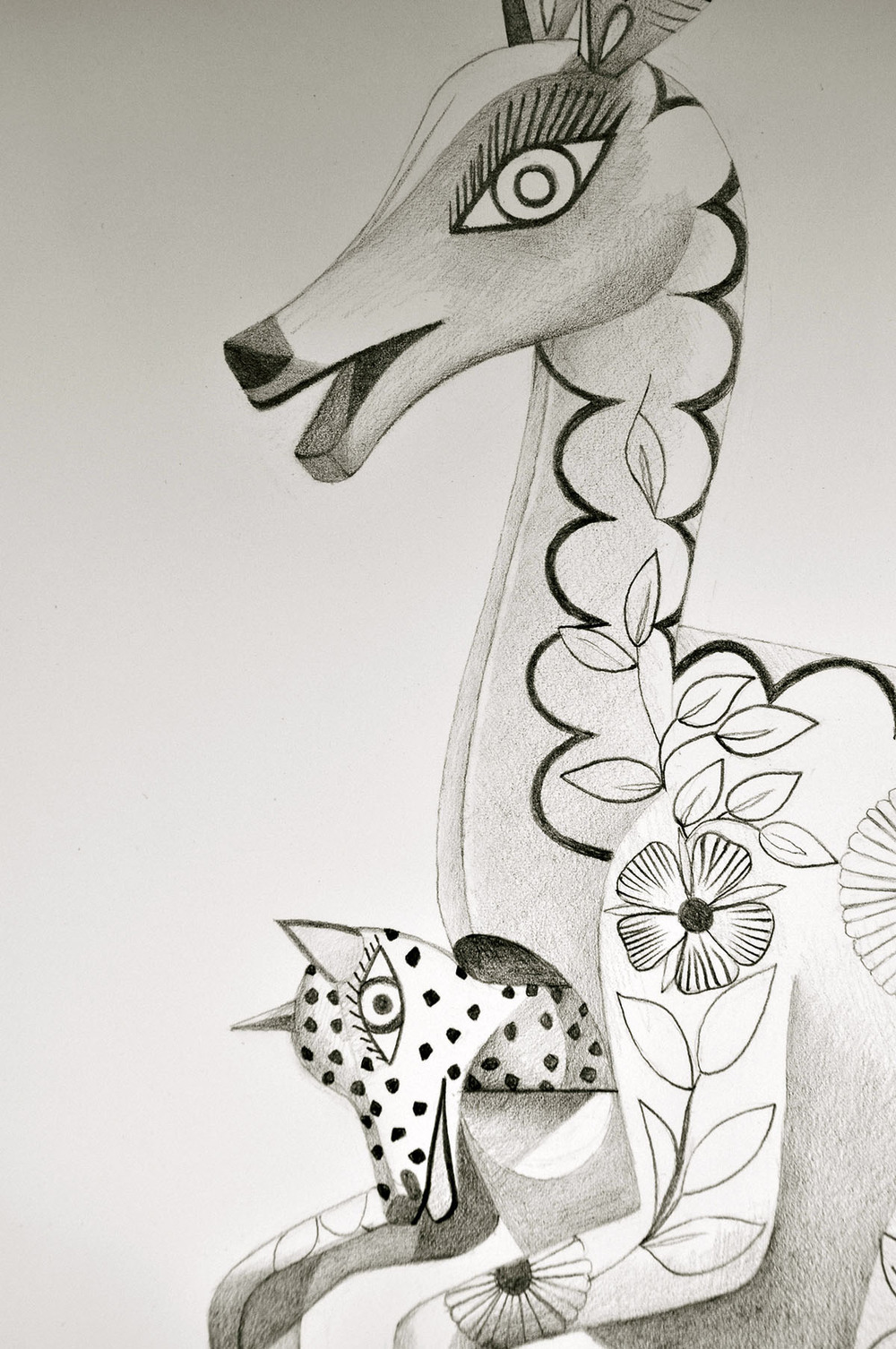 "Spirit Animal- Kangaroo (Detail)   Graphite on Paper  22"" x 30"" 2012"