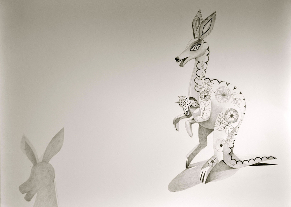 "Spirit Animal- Kangaroo   Graphite on Paper  22"" x 30"" 2012"