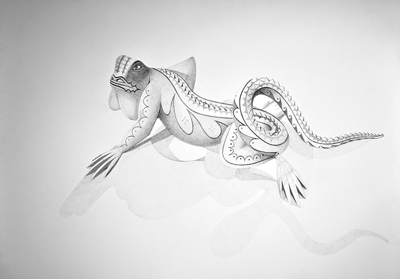 "Spirit Animal- Iguana   Graphite on Paper  22"" x 30"" 2012"