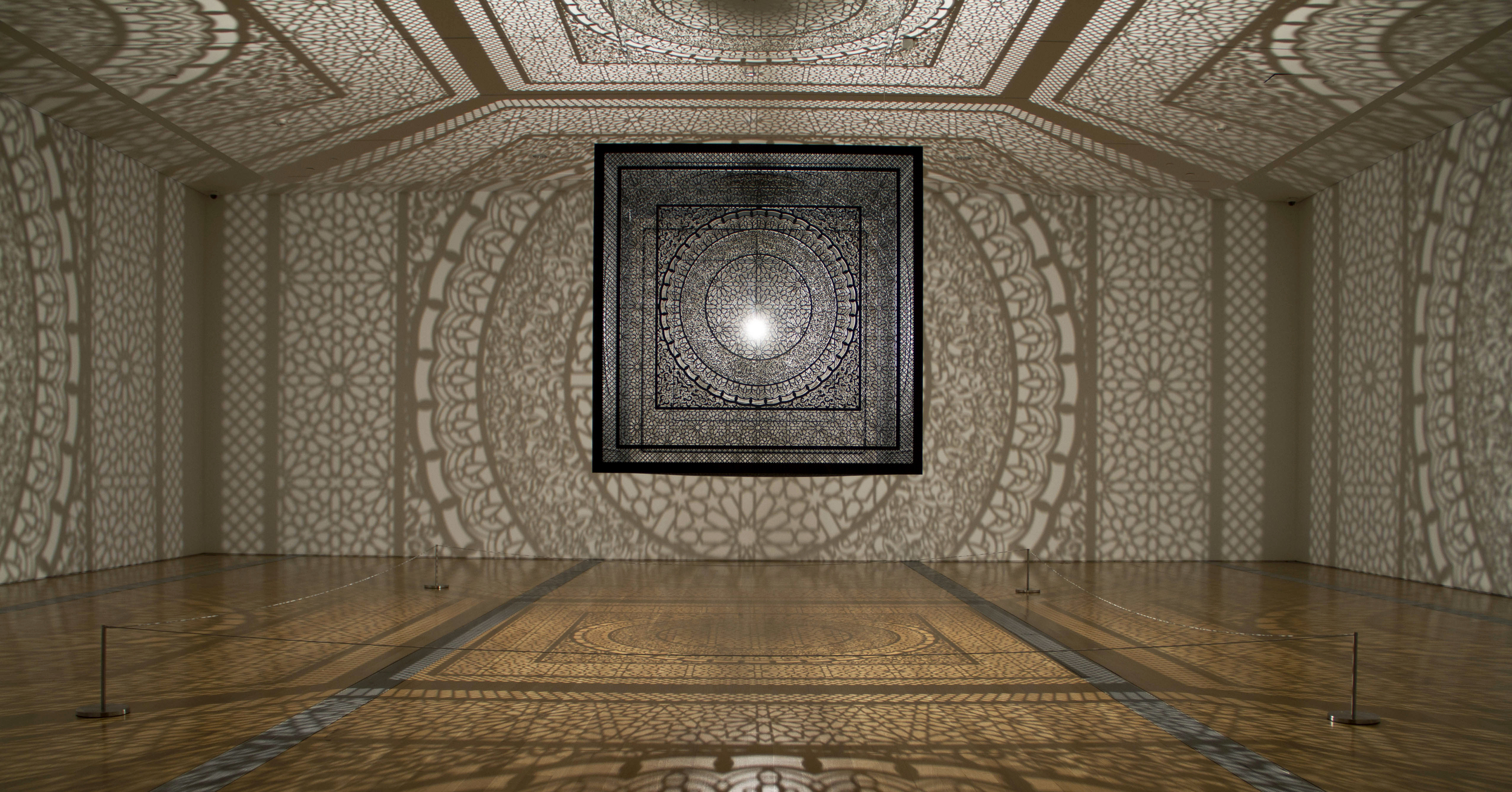 Laser-cut stainless steel and blub | Anila Quayyum Agha