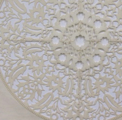 """All the Flowers Are For Me: White (Detail)   Cut paper, encaustic medium, embroidery 30"""" x 30""""  2015"""