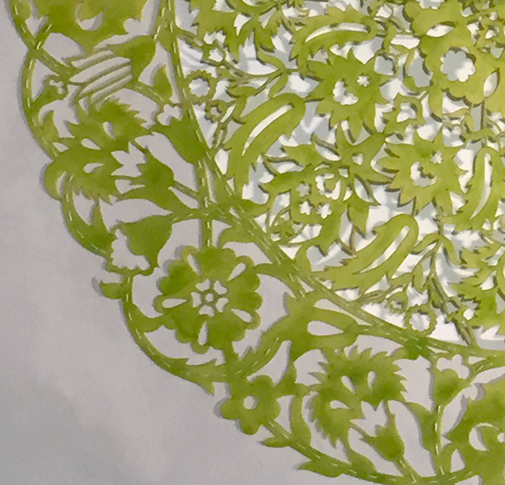 "All the Flowers Are For Me: Chartreuse (Detail)    Cut paper, encaustic medium, embroidery    30"" x 30""   2015"