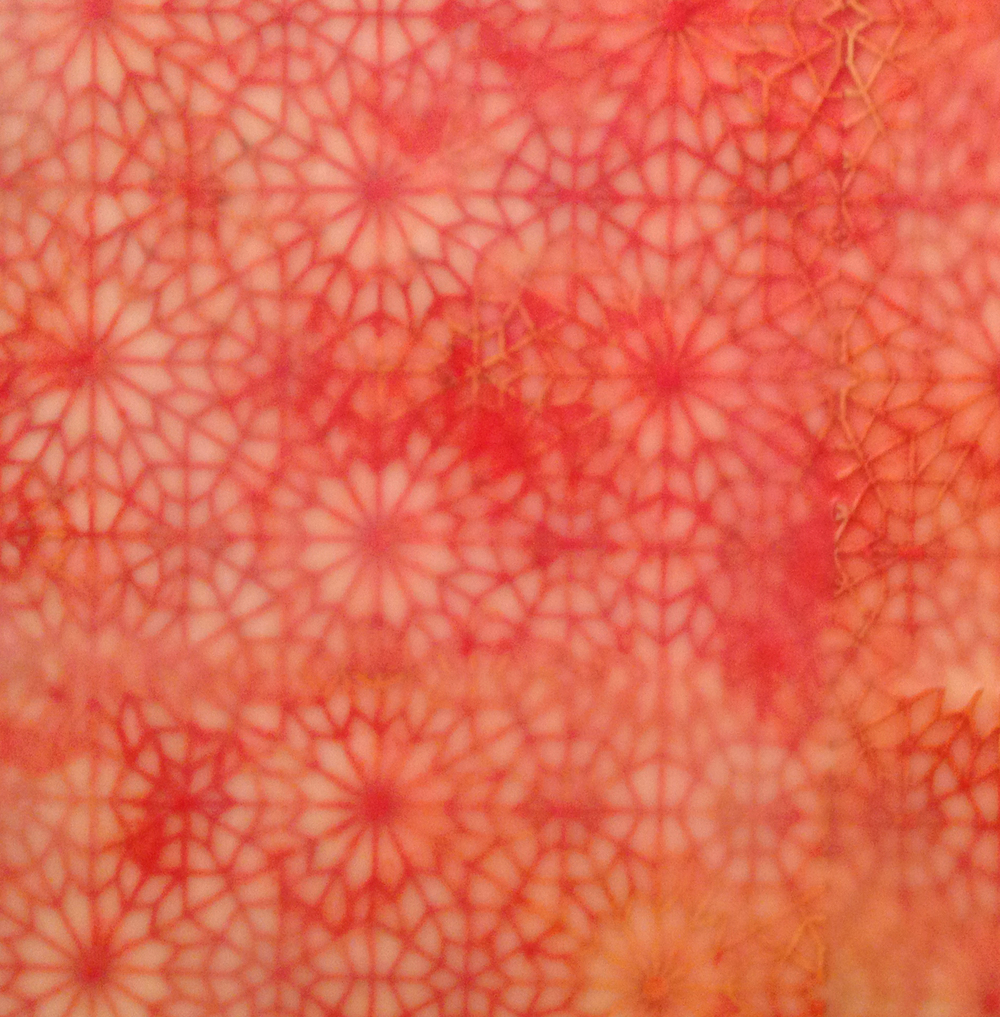 "Intersections: Red 2 (Detail)   Encaustic and cut paper  24"" x 24"" x 2"" 2014"