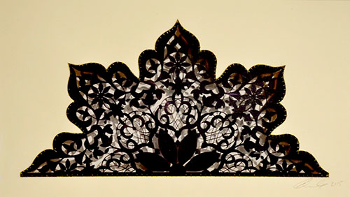 "My Fourth Royal Crown   Laser-cut paper with embroidery and encaustic   9.5"" x 17.5"" 2016"