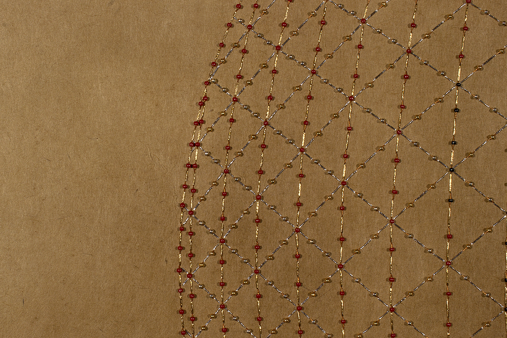 "Catching the Light- Red (Detail)   Mixed media on paper (Red, gold and black metallic thread and red and gold beads on brown Korean hand-made paper)  24"" x 25"" 2016  Walking With My Mother's Shadow-Artist Statement"