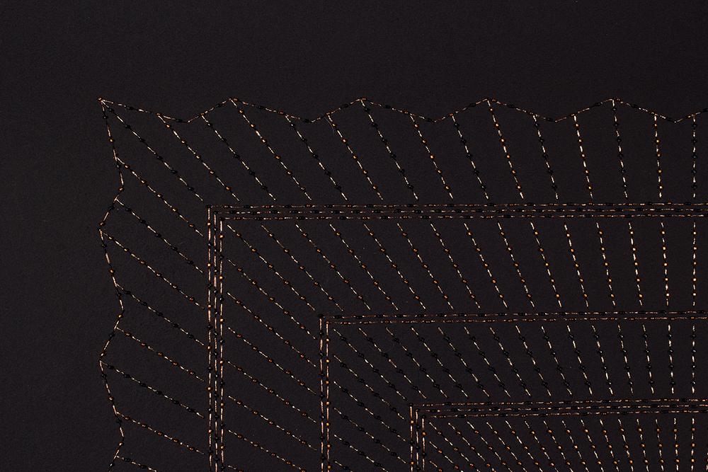 "Kaaba-Copper (Detail)   Mixed media on paper (Black and copper beads and embroidery on black paper)  29"" x 29"" 2016  Walking With My Mother's Shadow-Artist Statement"