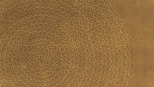 "Weight of Gold 1 (Detail)   Mixed media on paper (Gold and white thread with gold beads on brown Korean hand-made paper)  24"" x 35"" 2016  Walking With My Mother's Shadow-Artist Statement"