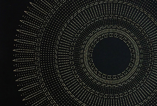 "Circle the Kaaba- Tan (Detail)   Mixed media on paper (Black and tan beads and embroidery on black paper)  29"" x 29"" 2016  Walking With My Mother's Shadow-Artist Statement"